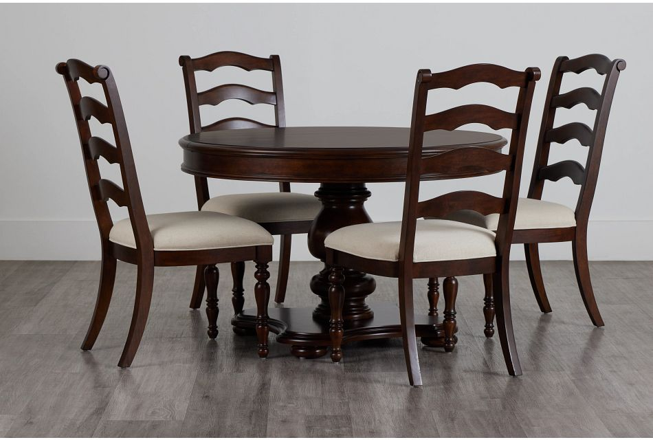 Savannah Dark Tone Round Table & 4 Chairs,  (0)