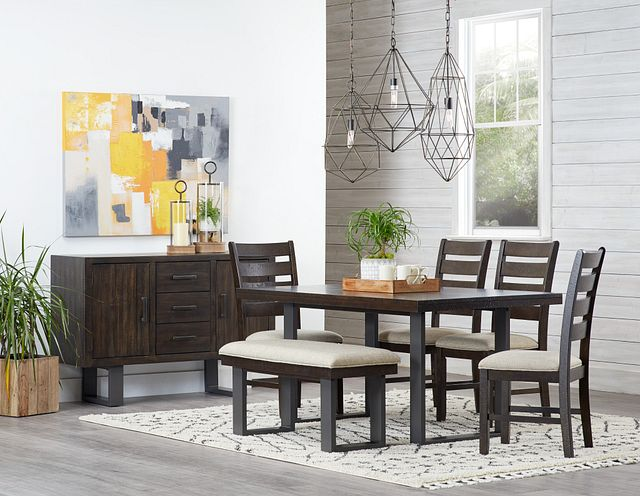 Sawyer Dark Tone Rect Table, 4 Chairs & Bench (1)