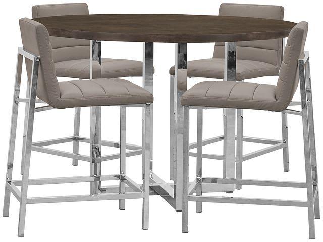 Amalfi Taupe Wood High Table & 4 Upholstered Barstools (0)