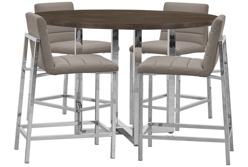 Amalfi Taupe Wood High Table & 4 Upholstered Barstools