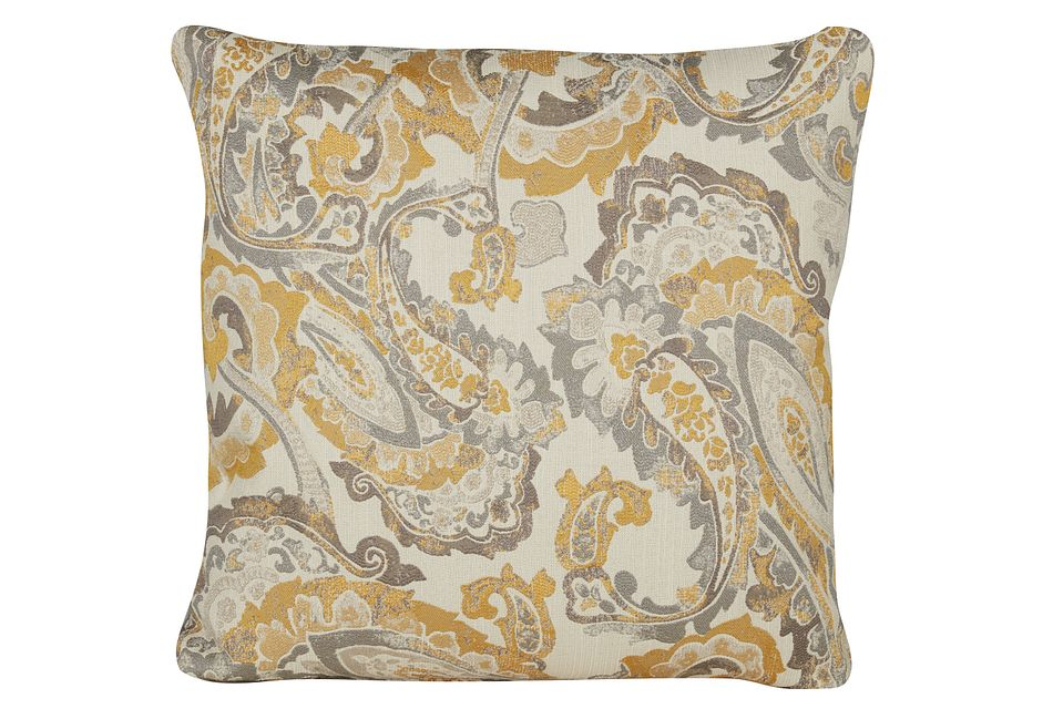 Mccandless Yellow Fabric Square Accent Pillow
