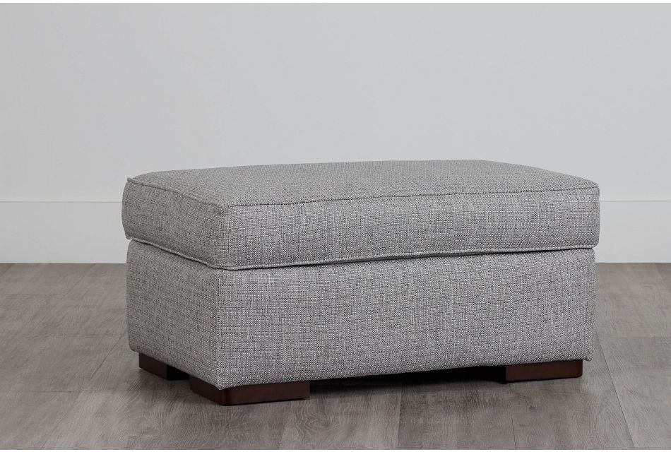 Austin Gray Fabric Ottoman,