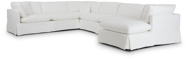 Raegan White Fabric Large Right Chaise Sectional