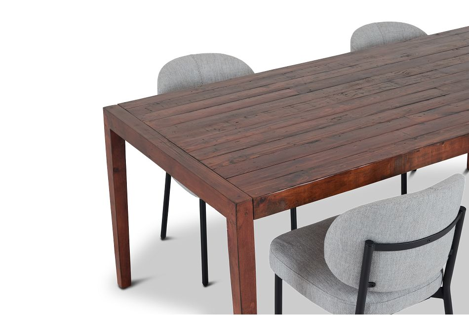 Chicago Dark Tone Rect Table & 4 Light Gray Upolstered Chairs