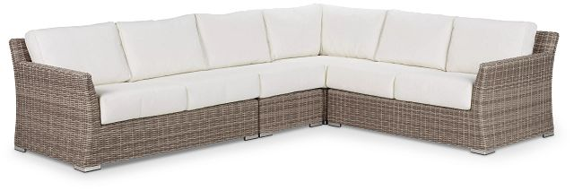 Raleigh White Woven Large Two-arm Sectional (2)