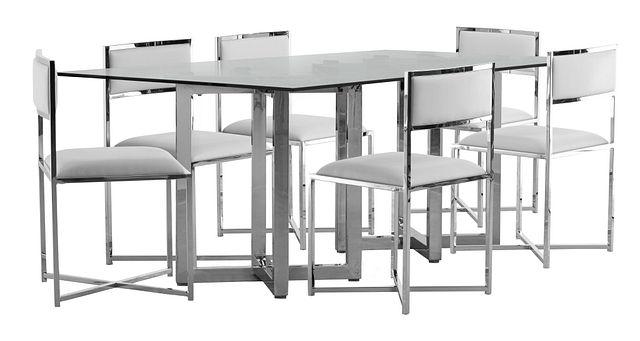 Amalfi White Glass Rectangular Table & 4 Metal Chairs (0)