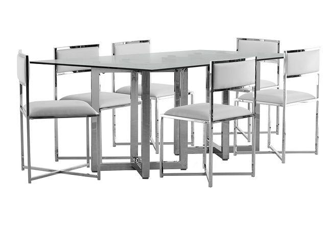 Amalfi White Glass Rectangular Table & 4 Metal Chairs