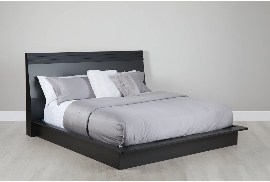 Midtown Black Wood Platform Bed