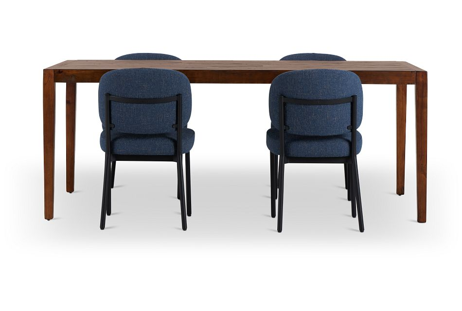 Chicago Dark Tone Rect Table & 4 Dark Blue Upholstered Chairs,  (3)