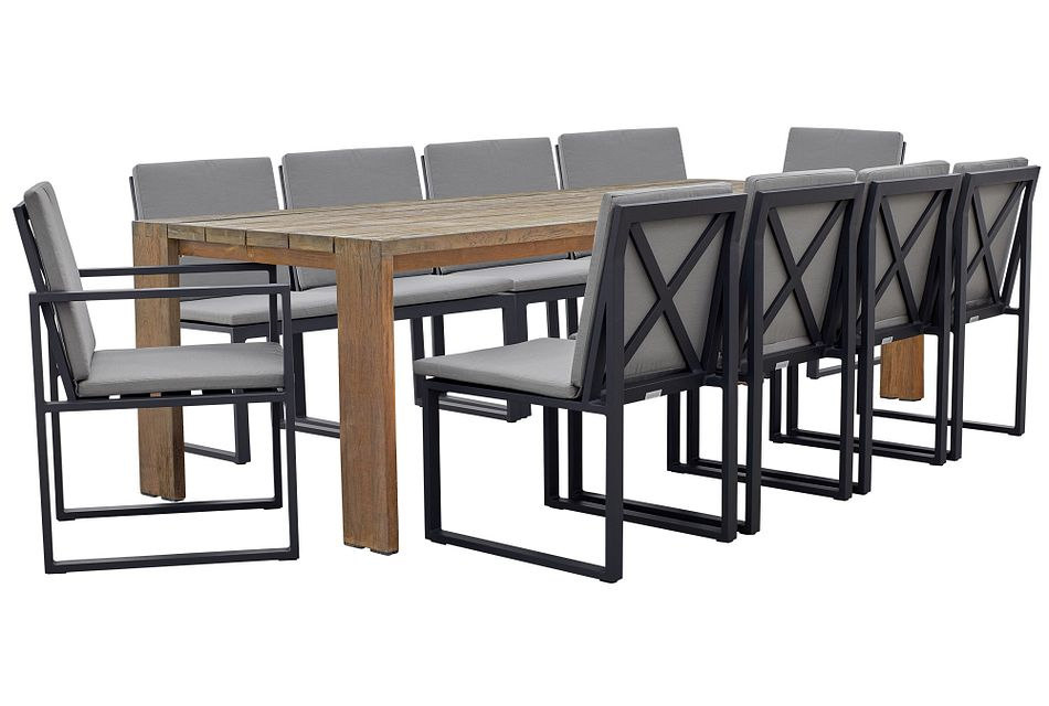 """Linear Dark Gray 102"""" Teak Table & 4 Cushioned Side Chairs"""