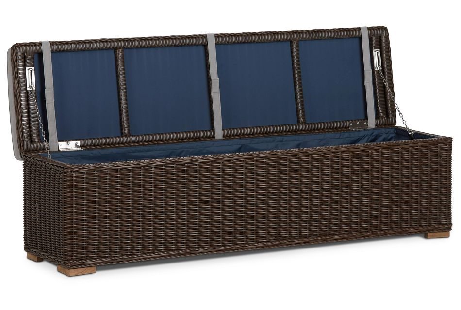 Canyon Dark Brown Gray Woven Dining Bench