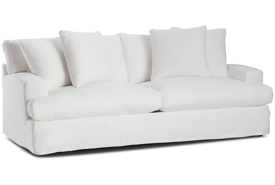 Delilah White Fabric Sofa