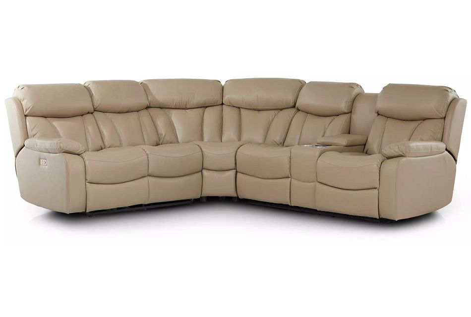 Dustin Beige Micro Right Console Love Reclining Sectional