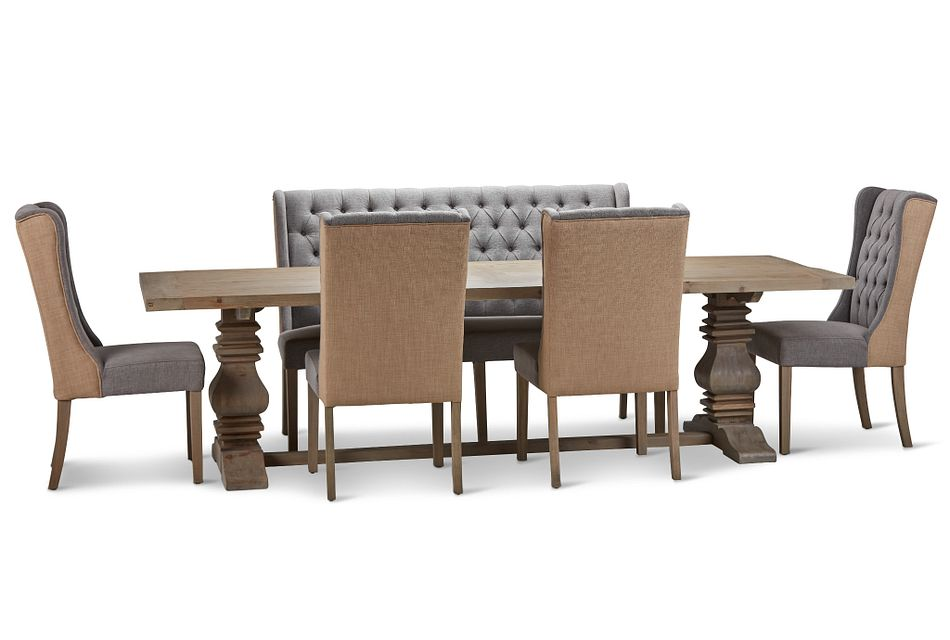 """Hadlow Gray 110"""" Table 4 Tufted Chairs & Bench"""