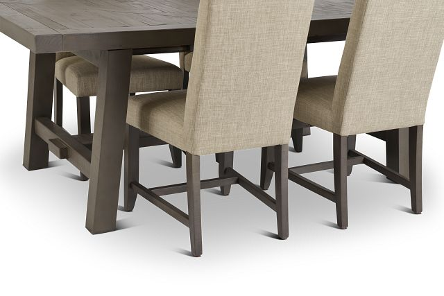 Taryn Gray Rect Table & 4 Upholstered Chairs
