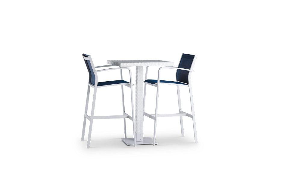 Lisbon Navy Square Pub Table & 2 Barstools,