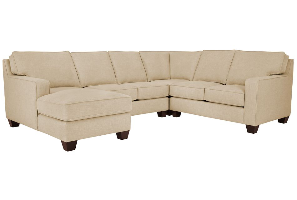 York Beige Fabric Medium Left Chaise Sectional