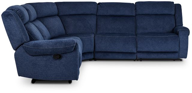 Beckett Dark Blue Micro Small Two-arm Manually Reclining Sectional (2)