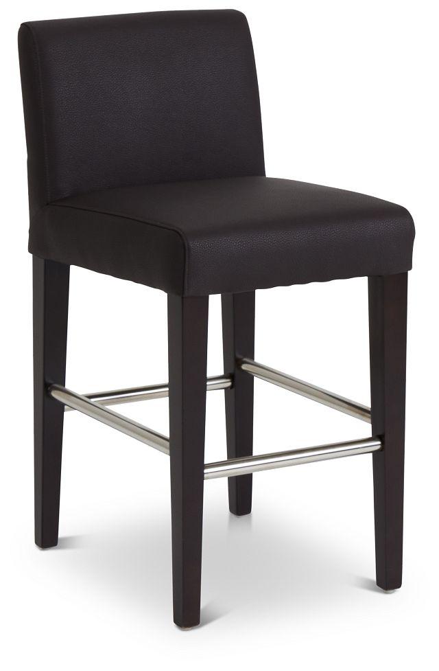 "Cane Dark Brown Micro 24"" Upholstered Barstool (1)"