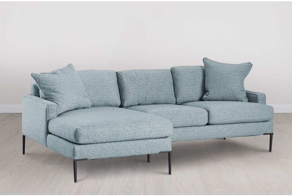 Morgan Teal Fabric Small Left Chaise Sectional W/ Metal Legs
