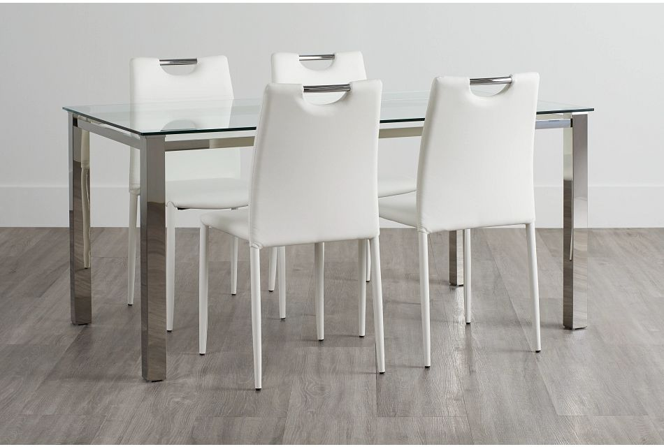 Skyline White Rect Table & 4 Upholstered Chairs,  (0)