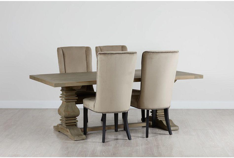 """Hadlow Gray 84"""" Table & 4 Velvet Chairs"""