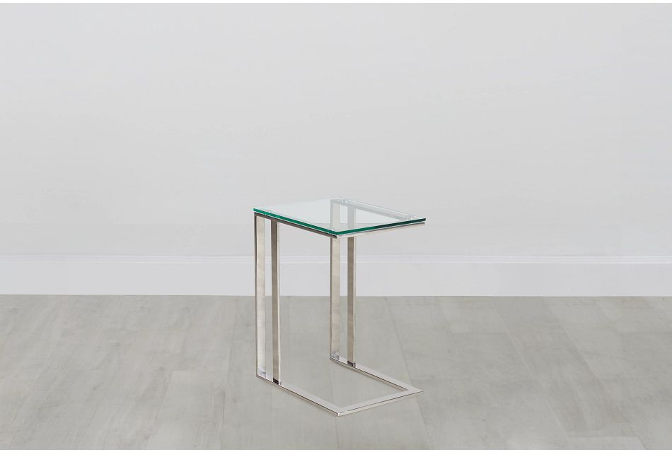 Arco Clear Glass Chairside Table, %%bed_Size%% (0)