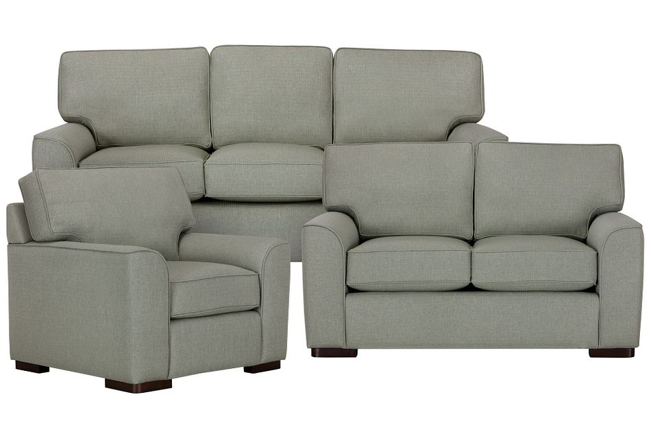 Austin Green Fabric Living Room