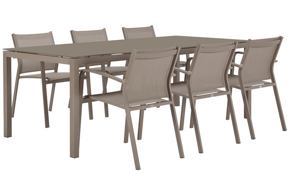 "Lisbon Khaki 86"" Rectangular Table & 4 Chairs"