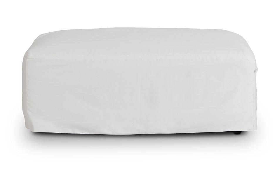 Delilah White Fabric Ottoman,  (3)