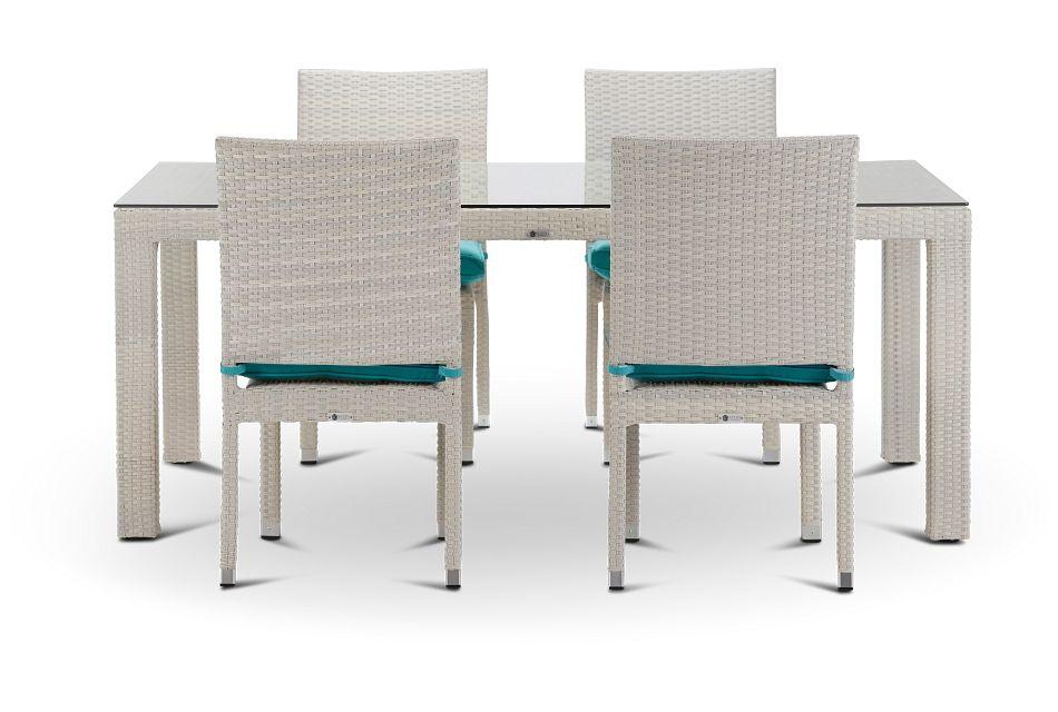 "Bahia Dark Teal 72"" Rectangular Table & 4 Upholstered Chairs,  (1)"