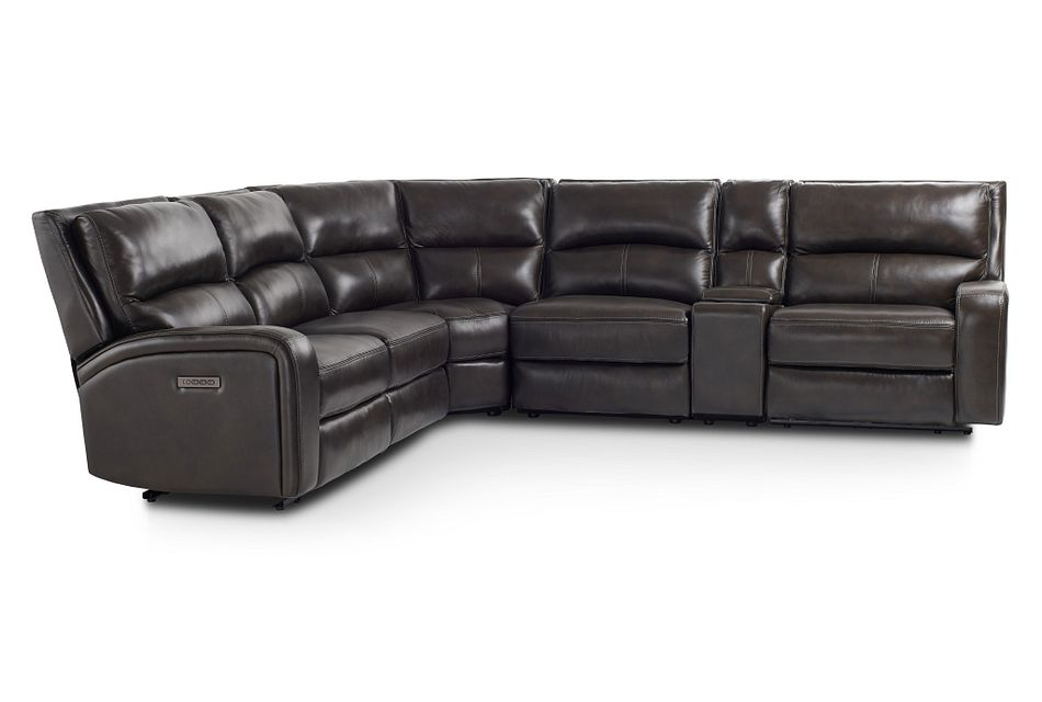 Declan Dark Brown Lthr/vinyl Small Two-arm Power Reclining Sectional
