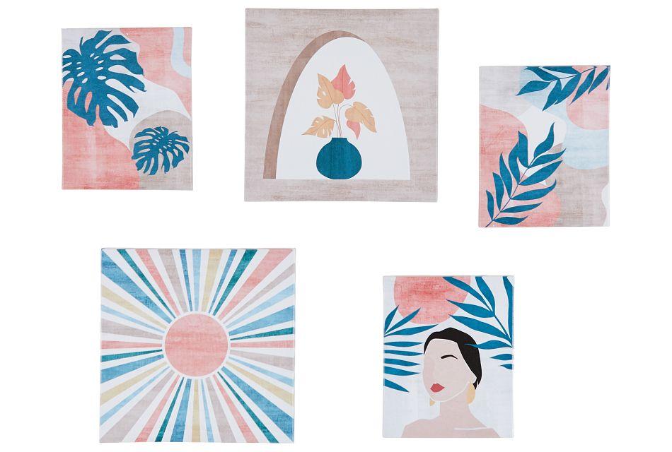 Sunnie Orange Set Of 5 Canvas Wall Art,  (0)