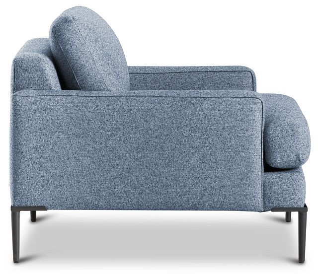 Morgan Blue Fabric Chair With Metal Legs (2)
