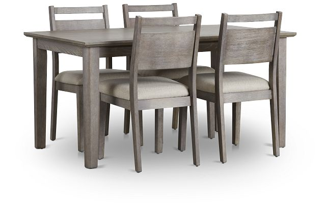 Rockville Light Tone Rect Table & 4 Upholstered Chairs (2)