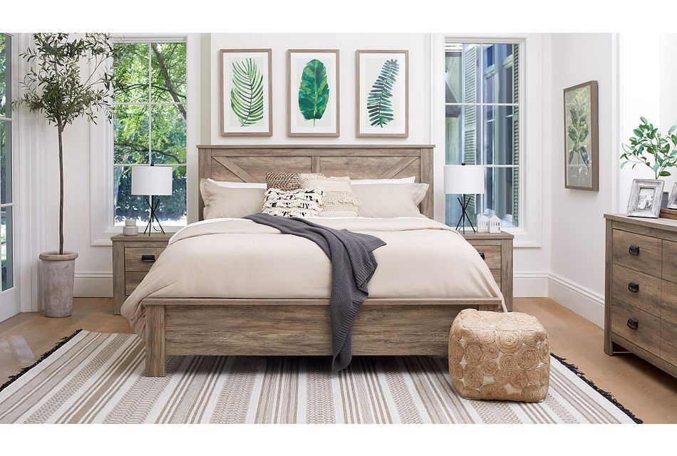 Shelton Light Tone Panel Bedroom