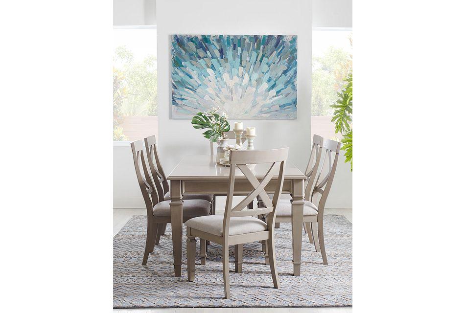 Marina Gray Table & 4 Wood Chairs