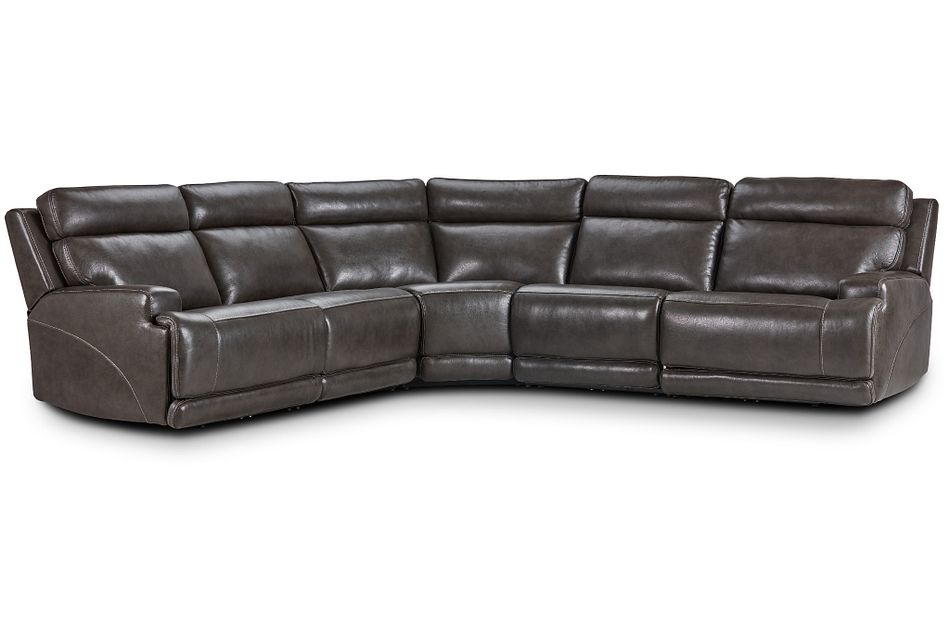 Valor Dark Gray Leather Small Two-arm Power Reclining Sectional