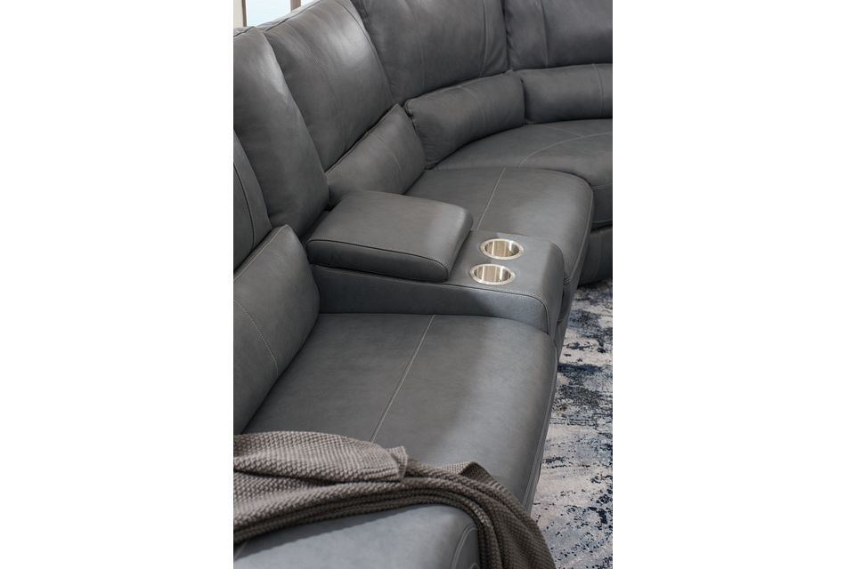 Weston Light Gray Lthr/vinyl Small Triple Power Reclining Two-arm Sectional