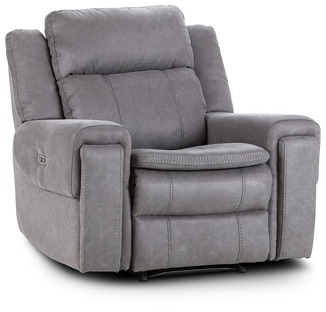 Scout Gray Micro Power Recliner With Power Headrest (1)