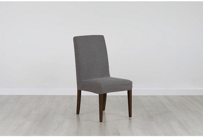 Harbor Dark Gray Short Slipcover Chair With Medium-tone Leg