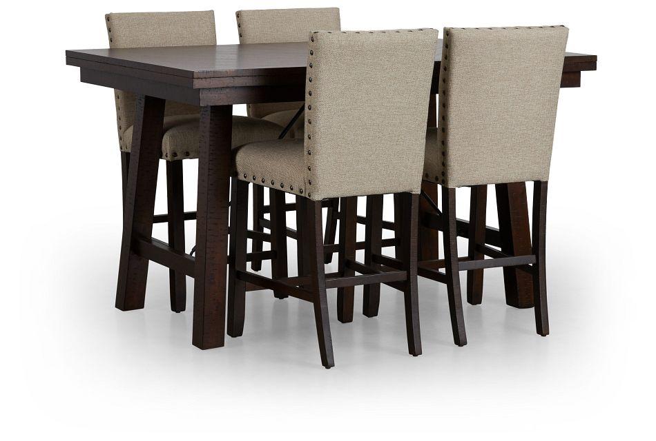 Jax Beige High Table & 4 Upholstered Barstools