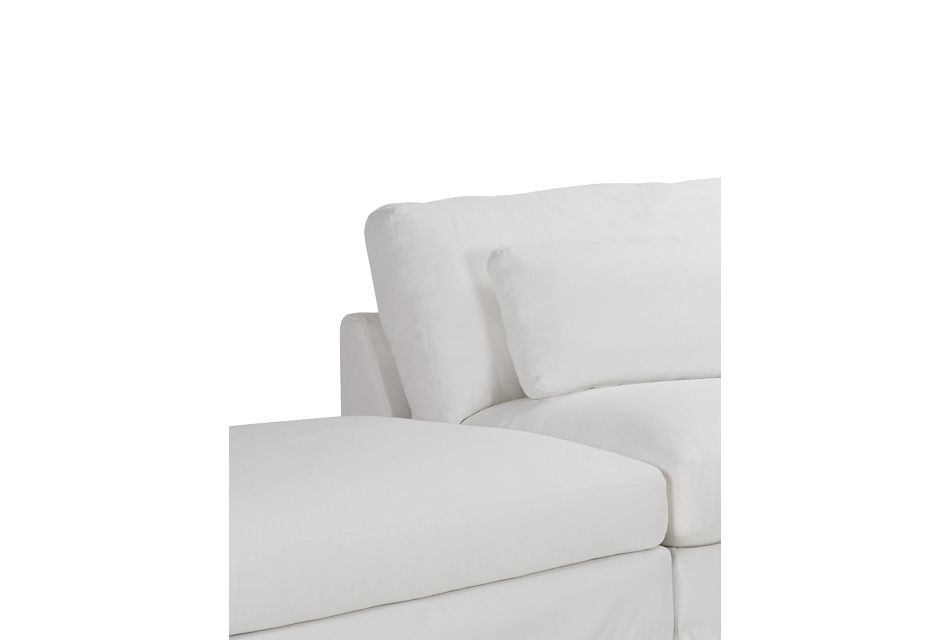 Cozumel White Fabric 5-piece Left Facing Bumper Sectional