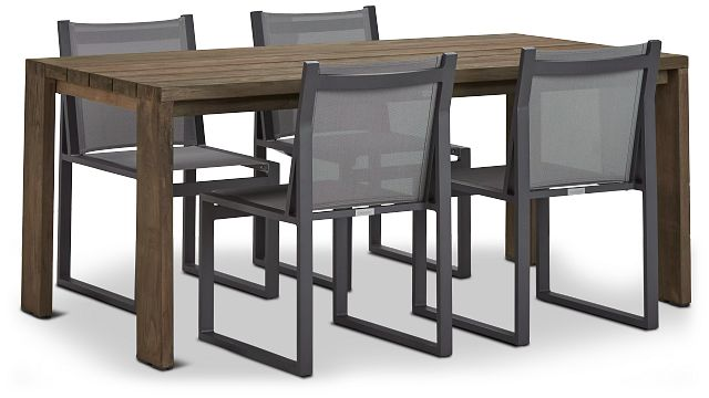 """Linear 70"""" Teak Table & 4 Sling Side Chairs (0)"""