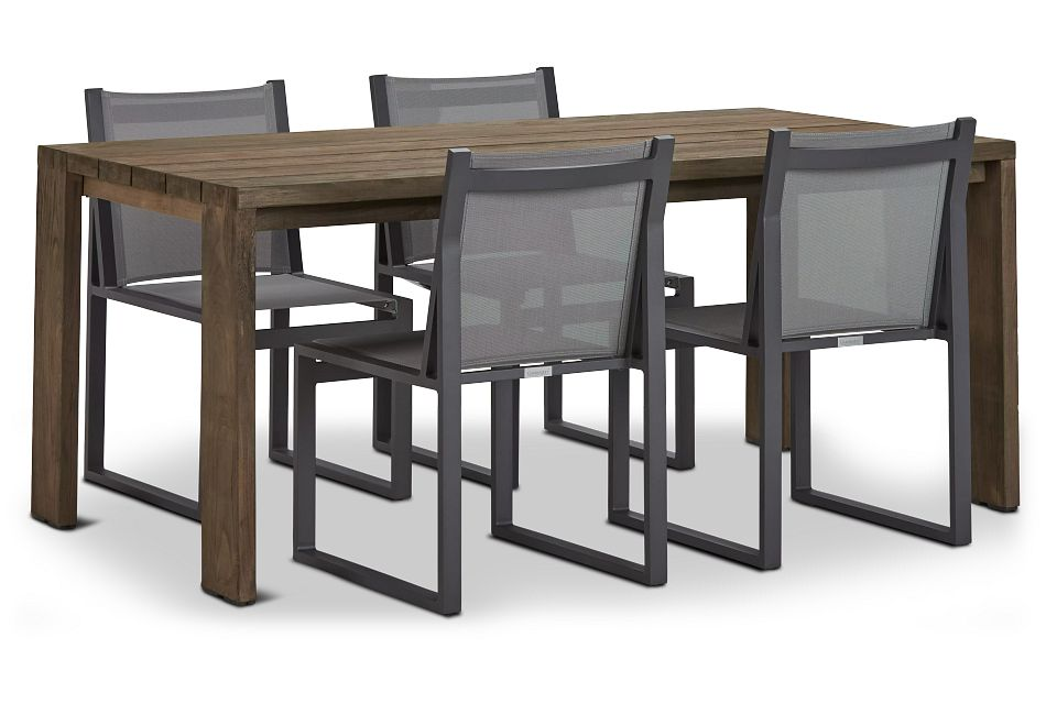 "Linear 70"" Teak Table & 4 Sling Side Chairs"