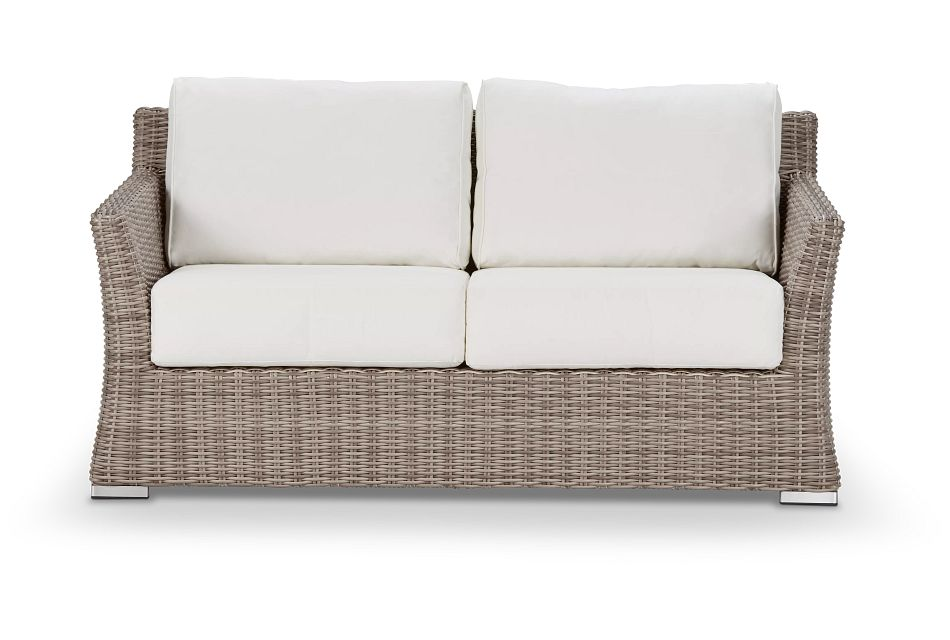 Raleigh White Woven Loveseat