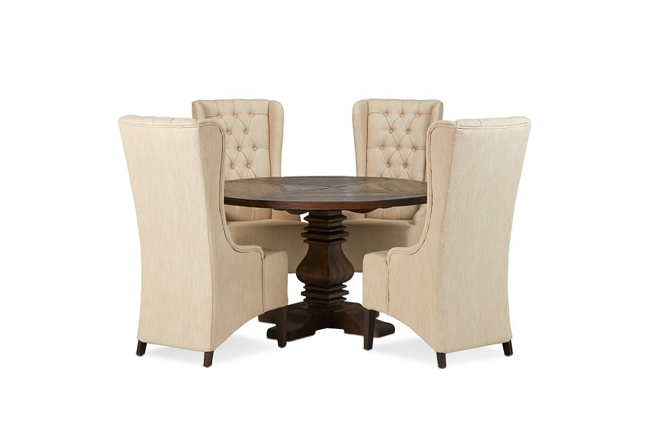 """Hadlow Mid Tone 54"""" Table & 4 Upholstered Chairs"""