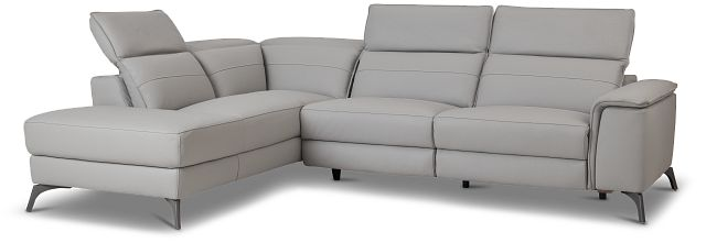 Pearson Gray Leather Left Bumper Sectional (3)
