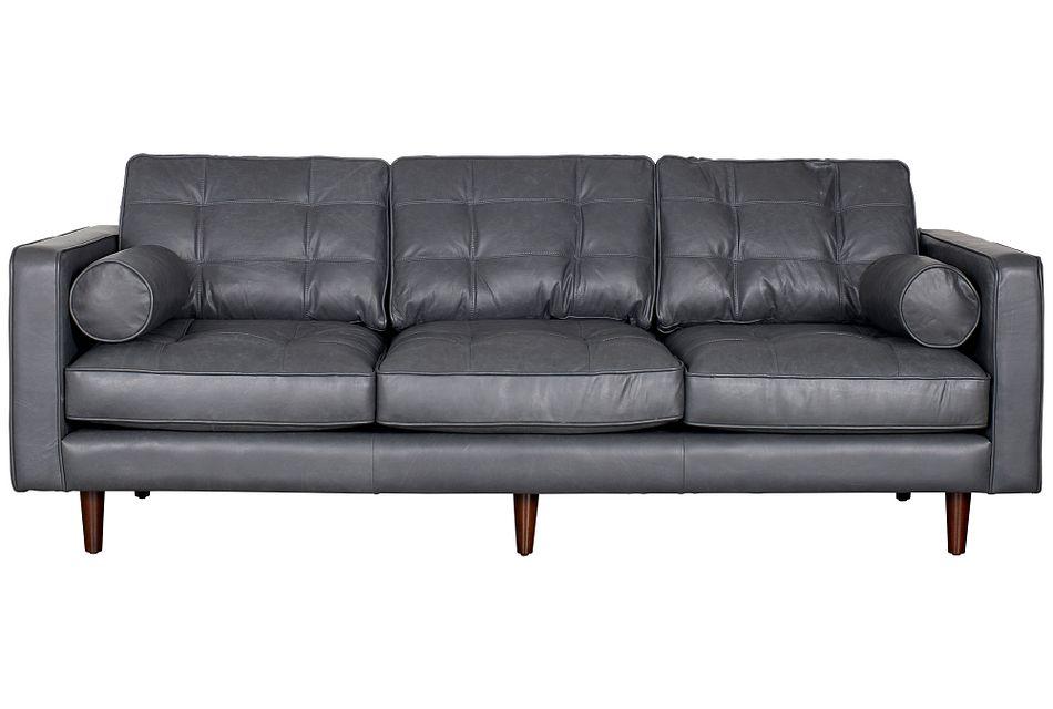 Encino Gray Leather Sofa