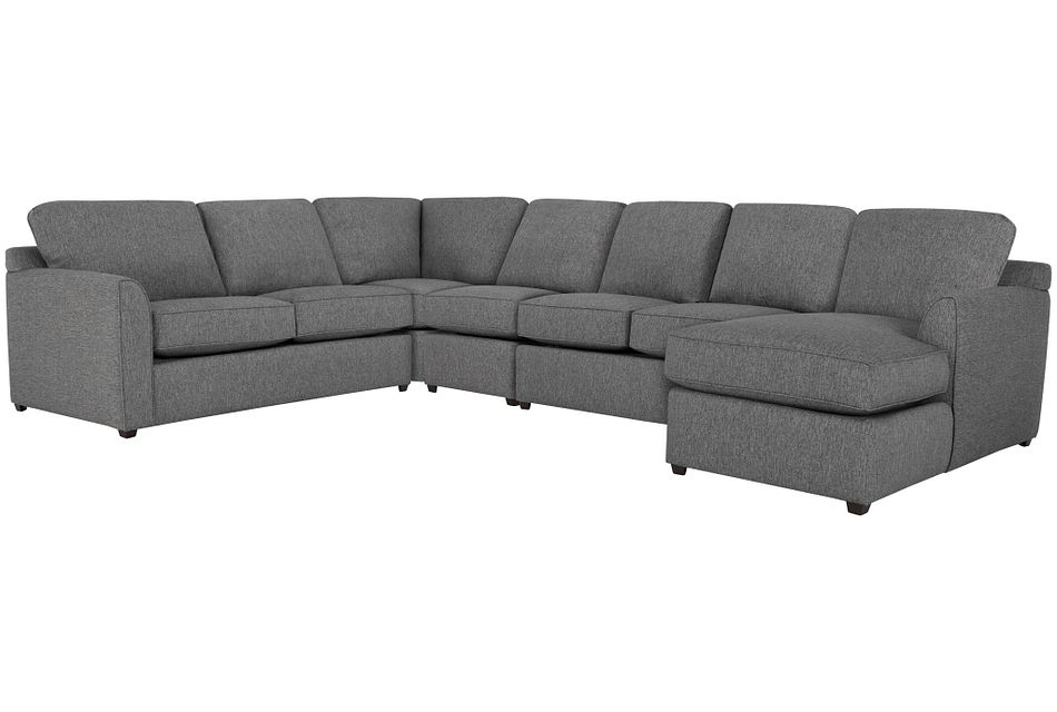 Asheville GRAY COOLING Right Chaise Memory Foam Sleeper Sectional, Full